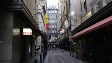Melbourne's deserted city centre during Stage Four lockdowns.