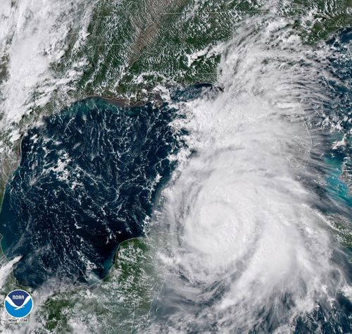 This US National Oceanic and Atmospheric Administration satellite photo shows the gathering storm heading for the Florida coast.