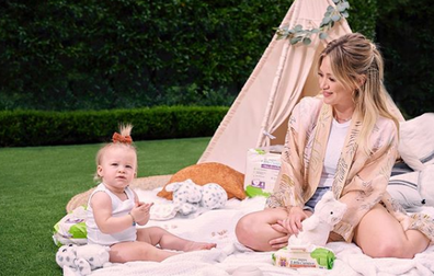 Hilary Duff with her second child Banks Violet Bair.