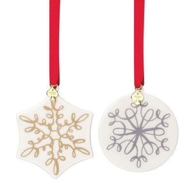 """<a href=""""http://www.katespadehomegifts.com.au/kate-spade-new-york-jingle-all-the-way-ornament-set-of-2.html"""" target=""""_blank"""">Kate Spade New York Jingle All The Way Ornament Set, $79.95.</a>"""