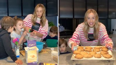 Bec Judd cooks Caramilk chunk cookies with her kids