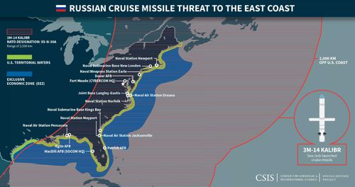 US coastal targets within the range of the current Kalibr cruise missile. Russian state media has reported a new version will have double the range.