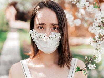 Bridesmaid wearing a face mask.