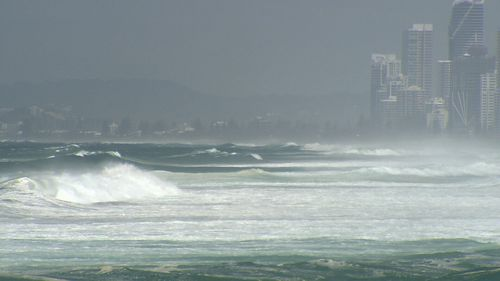 The large swell pictured on the Gold Coast.