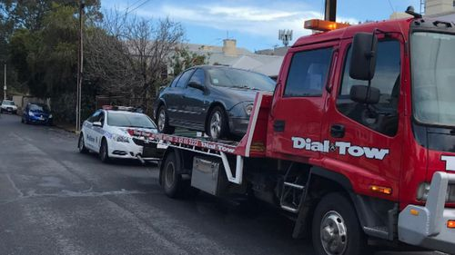Ross' vehicle was towed after police arrested him for the second time. Image: 9News