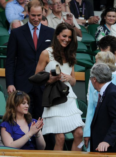 The Duchess of Cambridge Kate Middleton in Temperley London on day seven of the 2011 Wimbledon Championships at the All England Lawn Tennis and Croquet Club, Wimbledon