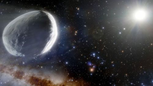 An illustration showing Comet Bernardinelli-Bernstein as it might look in the outer solar system.