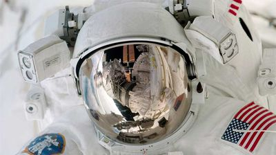 Up close with Paul Richards during an Extravehicular Activity on the International Space Station. (NASA)