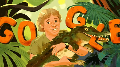 Today's Google Doodle is honouring Steve Irwin's birthday with a series of colourful illustrations