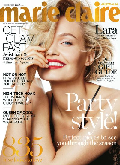<p><strong>10.</strong>&nbsp;</p> <p>Lara Bingle Worthington has plenty to smile about following the birth of her second son to <em>Avatar</em> actor Sam. Photographer Simon Upton captured her joy for the December issue of <em>Marie Claire</em> Australia and made a strong case for the return of the red lip.</p>