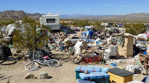 The squalid site where the three children were found in the California desert. (Photo: AP).