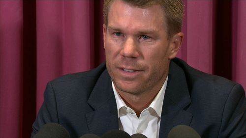 David Warner has broken down in an emotional apology for his part in the Australian cricket ball tampering scandal that has rocked the game. Picture: 9NEWS.