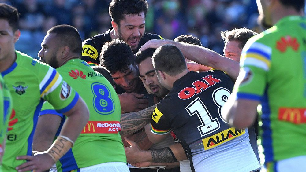 Penrith rookie Tyrone May scores late try to ruin Canberra Raiders' finals hopes