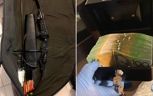 Man arrested after police allegedly discover stash of drugs, money and weapons