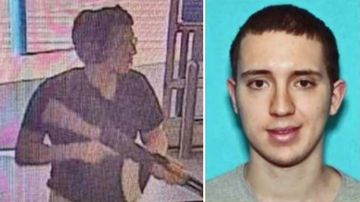 The shooter pictured entering and Walmart store, and (right) the man arrested over the massacre, Patrick Crusius.