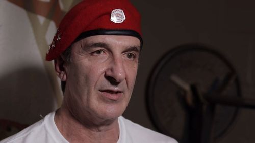 """Michael Makridis, 53, is the leader of the Melbourne chapter of the """"safety patrol"""" group The Guardian Angels."""