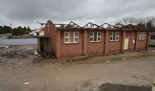 Storm damage is seen in the town of Blyth, South Australia. The storm contributed to the statewide blackout. (AAP)