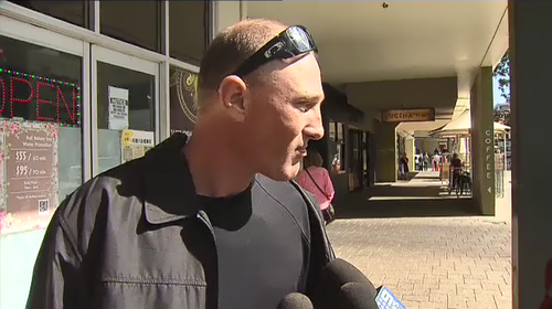 Mark James Dunks speaking to reporters after facing court. (9News)