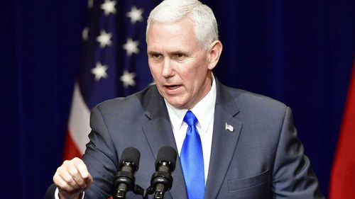 Mike Pence speaks at an event in Japan. (AAP)
