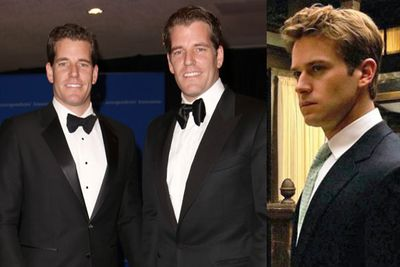 Cameron and Tyler Winklevoss are US rowers and entrepreneurs who you might recgonise from <i>The Social Network</i>. They were played by hottie Armie Hammer (right).<br/><br/>Pics: Splash/Sony Pictures.