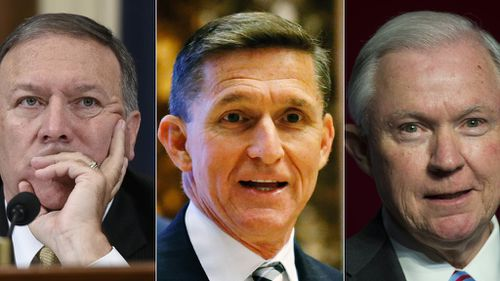 President-elect Trump's top picks: US Representative from Kansas Mike Pompeo, Retired Lieutenant General Michael Flynn and Senator Jeff Sessions. (AFP)
