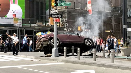 A picture shared online purports to show the car near Times Square in New York City. (Twitter)