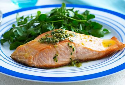 Salmon with lemon and caper butter