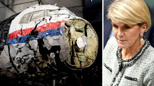 Foreign Minister Julie Bishop has pledged to continue searching for answers over the downing of MH17 four years ago. (Photos: AAP).
