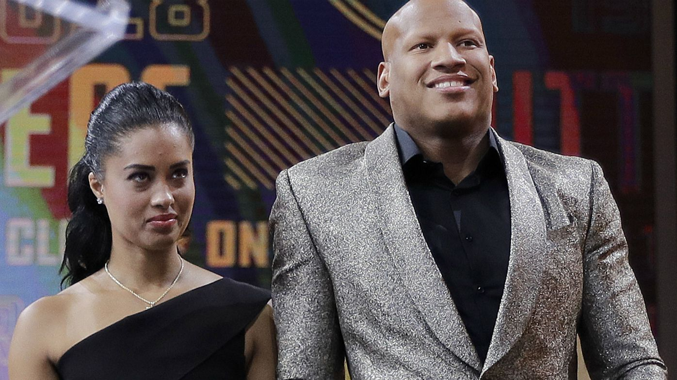 Ryan Shazier, right, walks with his wife Michelle .