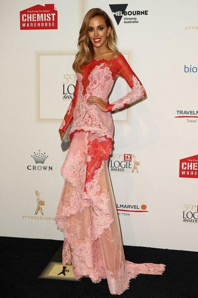 <p>Rebecca Judd in J'aton Couture</p>
