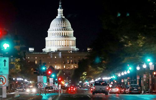 Federal government building in Washington DC as the city wakes the day after the Midterm elections.