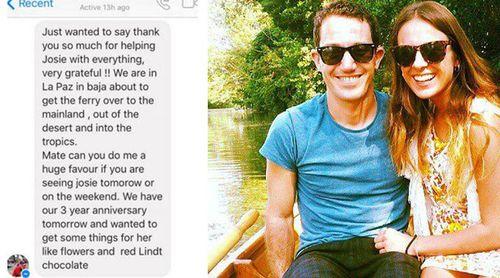 Dean Lucas' text message to Taylor Holbrook. (Facebook)