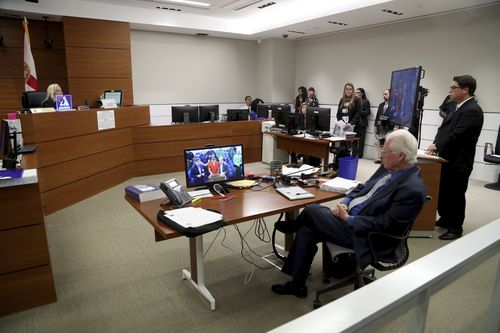 Nikolas Cruz appeared via videolink in the courtroom. Picture: AAP