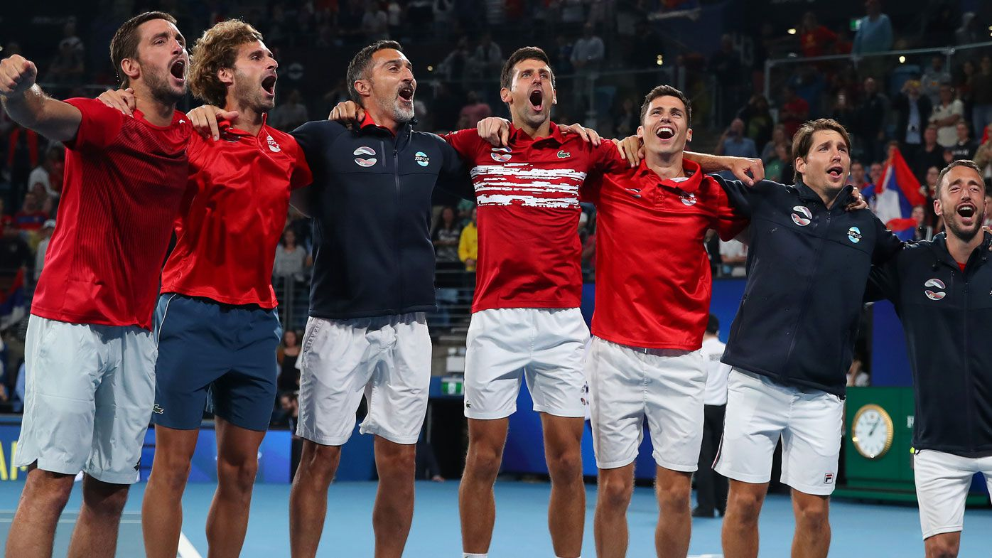 Team Serbia celebrate after winning the ATP Cup