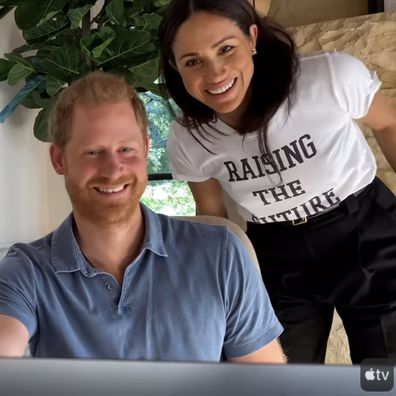 In one clip Meghan joins Harry on a video call.