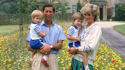 Prince Charles with his family, 1986.