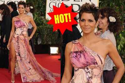 "Angelina Jolie's Oscars leg-bomb now has a rival in Halle Berry's ""va va voom"" Globes gown. Hot!"