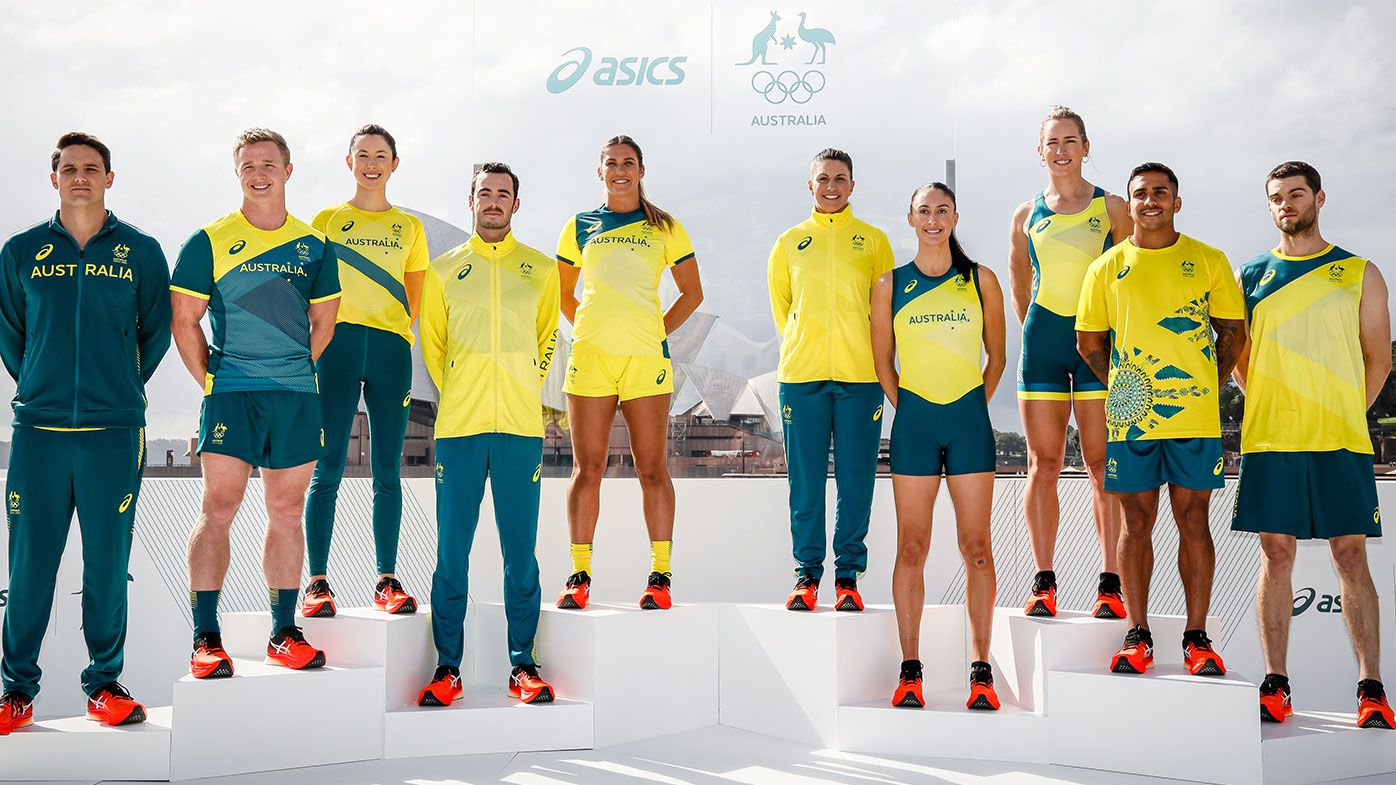 Australian athletes pose during the Australian Olympic Team Tokyo 2020 uniform unveiling at the Overseas Passenger Terminal on March 31, 2021 in Sydney, Australia. (Photo by Hanna Lassen/Getty Images)