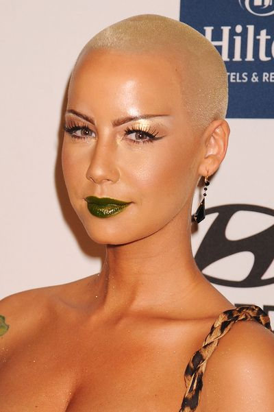 Model Amber Rose is no shrinking violet, especially not when wearing metallic green.