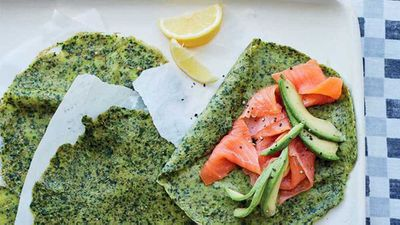 Energy boosting spelt and spinach pancakes