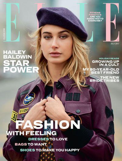 Hailey Baldwin on the cover of UK <em>ELLE</em>, July 2017.
