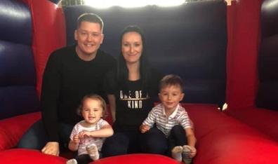 Sam Broadbent with husband Luke and children Jacob and Sienna.