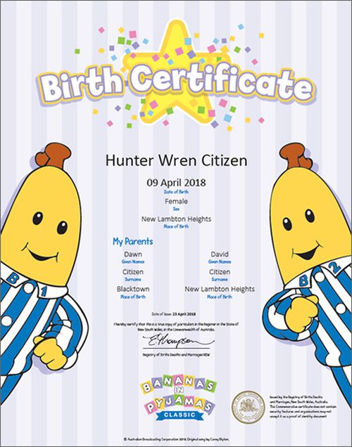 Bananas in Pyjamas birth certificate. mage: NSW Registry of Births, Deaths and Marriages
