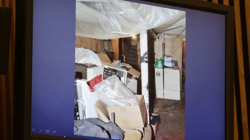 A photo of a room in the basement in Ariel Castro's Cleveland home where his victims were kept hostage, raped and abused. During captivity, one of his victims gave birth to a baby girl who was six years old when they were rescued in May 2013. (AAP)