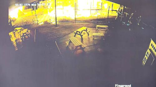 The blaze as caught on security vision.