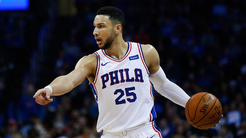Ben Simmons reacts after Andre Drummond's selection as All-Star replacement