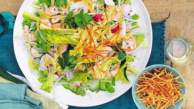 <strong>Prawn, celery heart and radish salad with boiled dressing</strong>
