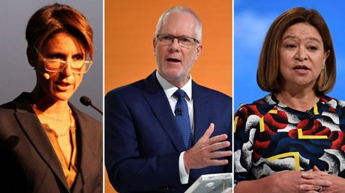 "Political pressure is mounting on the ABC chair, Justin Milne (centre), after revelations he ordered sacked managing director, Michelle Guthrie (right), to get rid of senior presenter Emma Alberici (left) because the Turnbull Government ""hates her""."