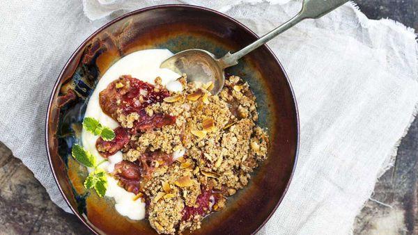 Apple, rhubarb and coconut crumble. Image: McKenzie's