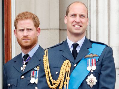 Prince William and Prince Harry on the balcony of Buckingham Palace.